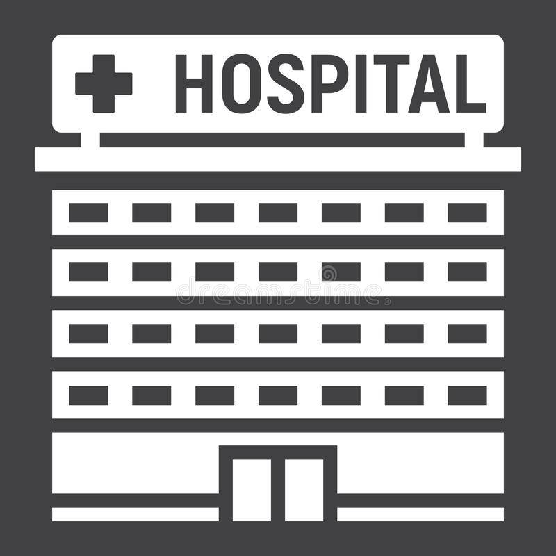 Hospital building glyph icon, medicine stock illustration