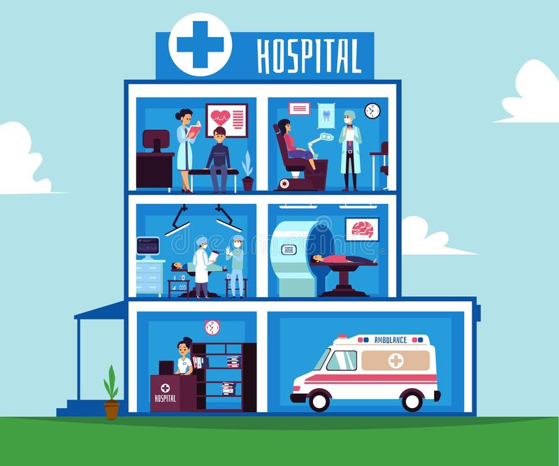 Hospital building - half cut view inside medical facility room interiors stock illustration