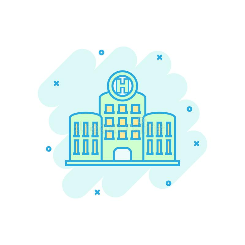 Hospital building icon in comic style. Infirmary vector cartoon illustration on white isolated background. Medical ambulance. Business concept splash effect vector illustration