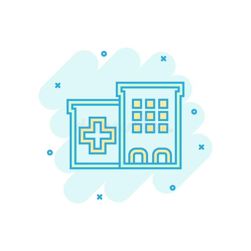 Hospital building icon in comic style. Infirmary vector cartoon illustration on white isolated background. Medical ambulance. Business concept splash effect stock illustration