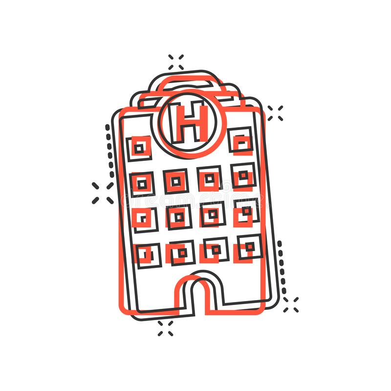 Hospital building icon in comic style. Infirmary vector cartoon illustration on white isolated background. Medical ambulance. Business concept splash effect royalty free illustration