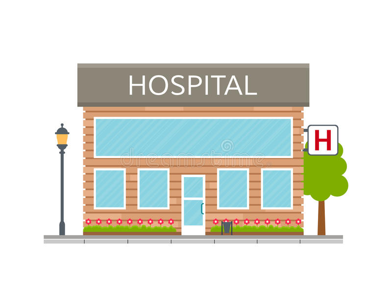 Hospital building icon, facade or front. royalty free illustration