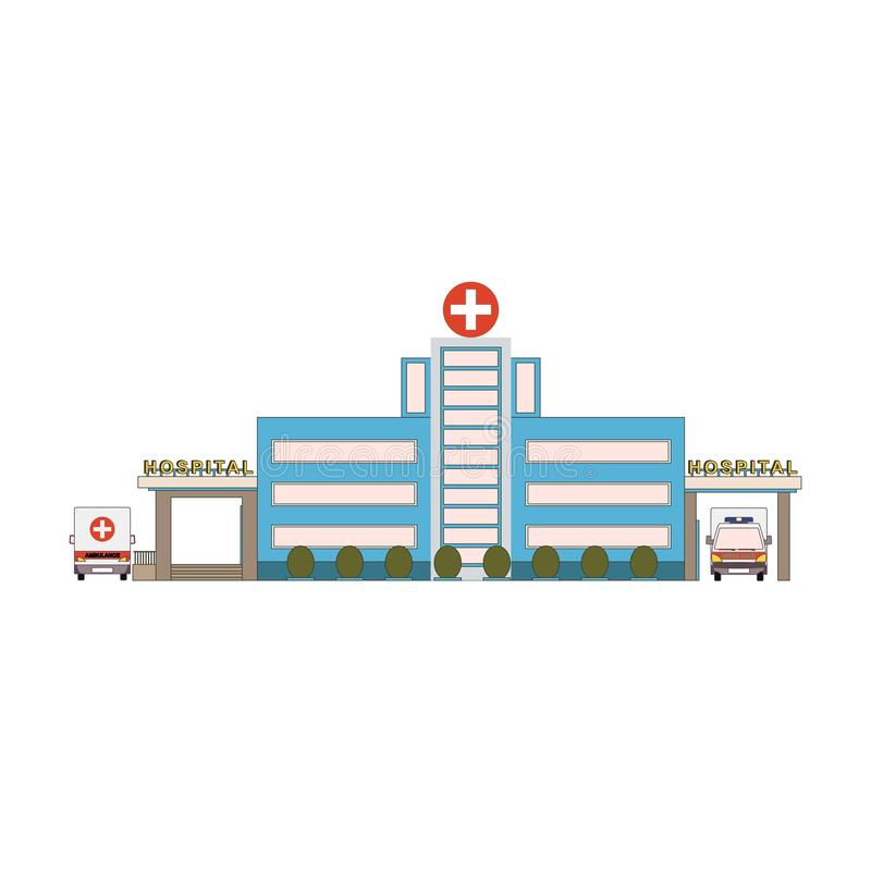 Hospital building icon in flat style. First aid car front and back view. Medical cityscape architecture in cartoon style royalty free illustration