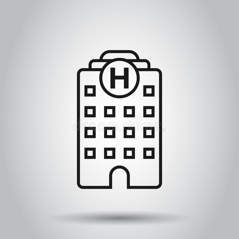 Hospital building icon in flat style. Infirmary vector illustration on isolated background. Medical ambulance business concept.  royalty free illustration