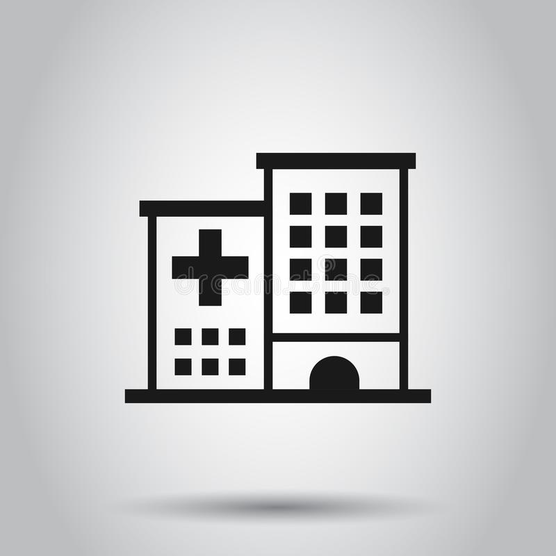 Hospital building icon in flat style. Infirmary vector illustration on isolated background. Medical ambulance business concept.  vector illustration