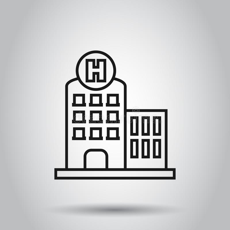Hospital building icon in flat style. Infirmary vector illustration on isolated background. Medical ambulance business concept.  stock illustration