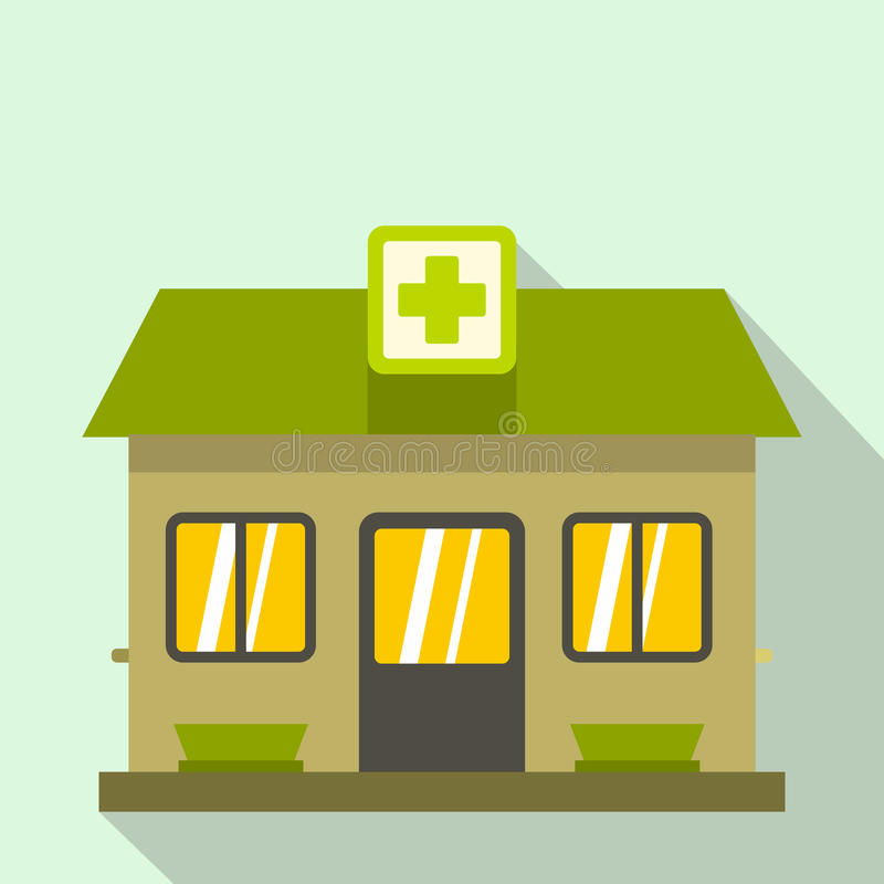 Hospital building icon, flat style vector illustration