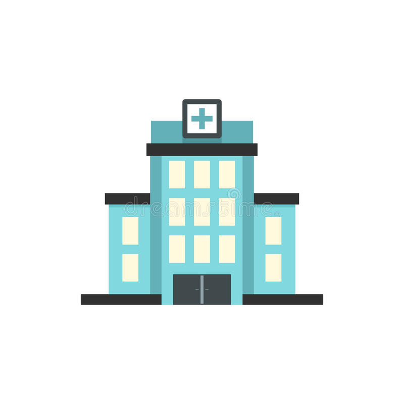 Hospital building icon, flat style. Hospital building icon in flat style on a white background royalty free illustration