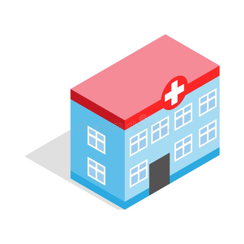 Hospital building icon, isometric 3d style vector illustration
