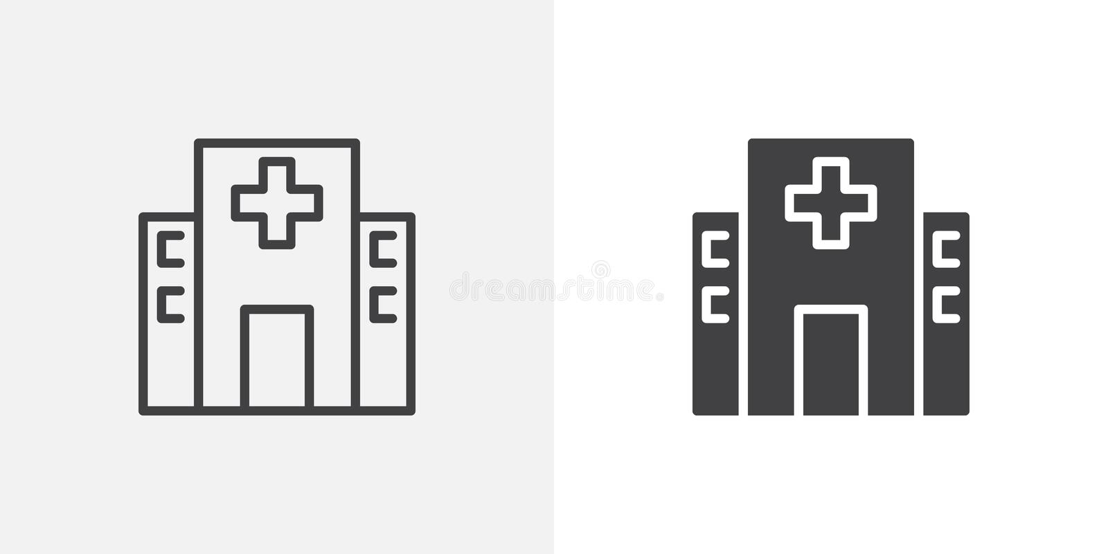 Hospital building icon. Line and glyph version, outline and filled vector sign. Clinic with medical cross linear and full pictogram. Symbol, logo illustration royalty free illustration