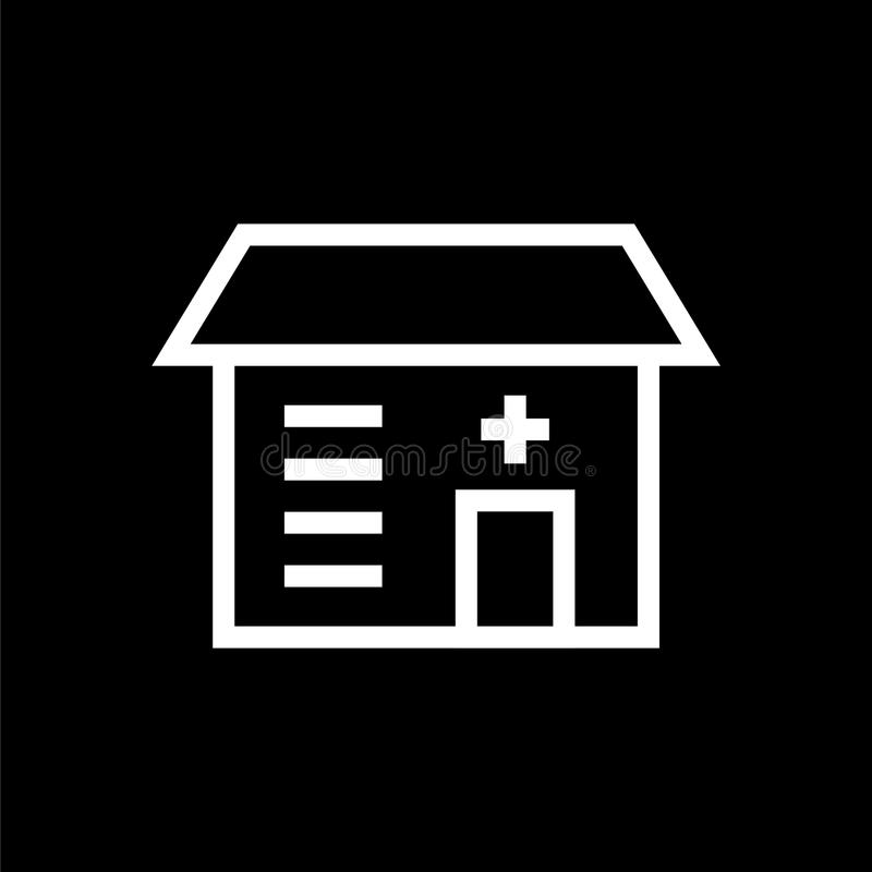 Building icon lined simple flat style illustration royalty free illustration