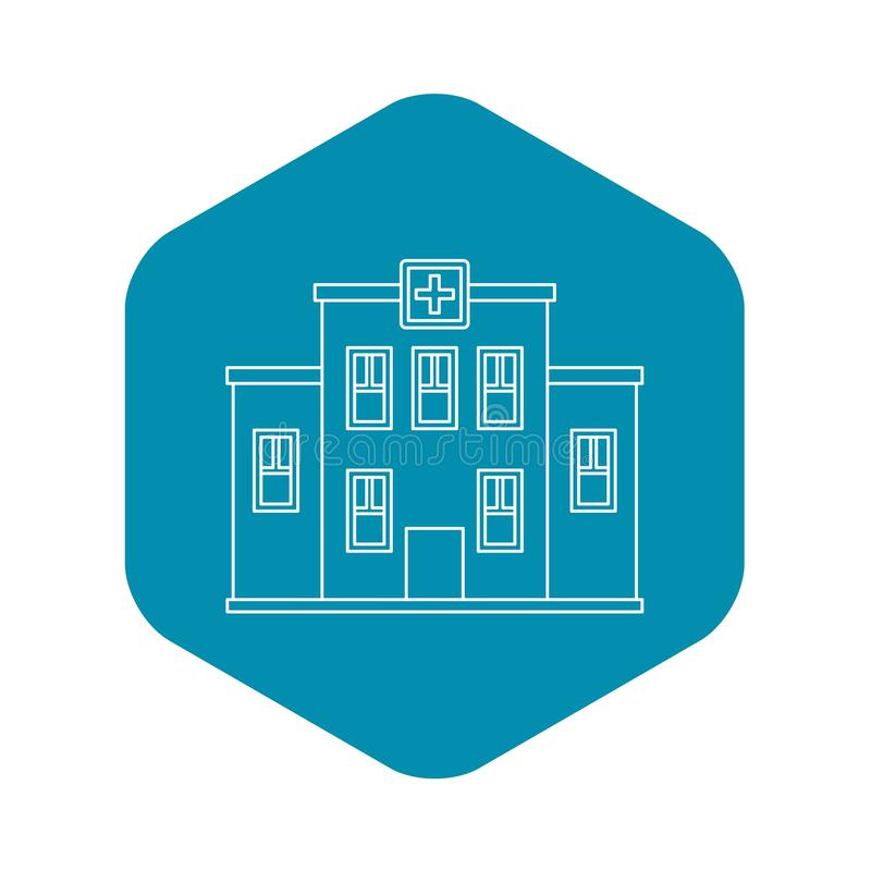 Hospital building icon, outline style stock illustration