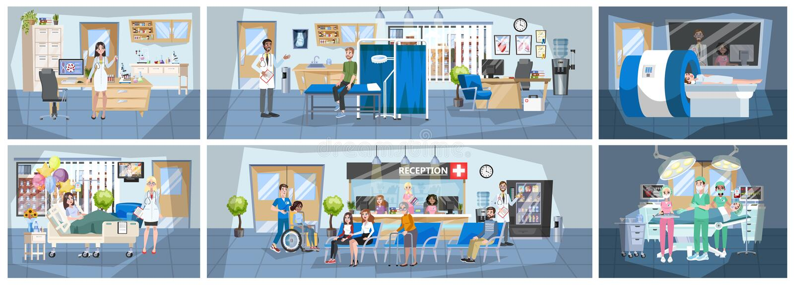 Hospital building interior. Doctor office and surgery room vector illustration