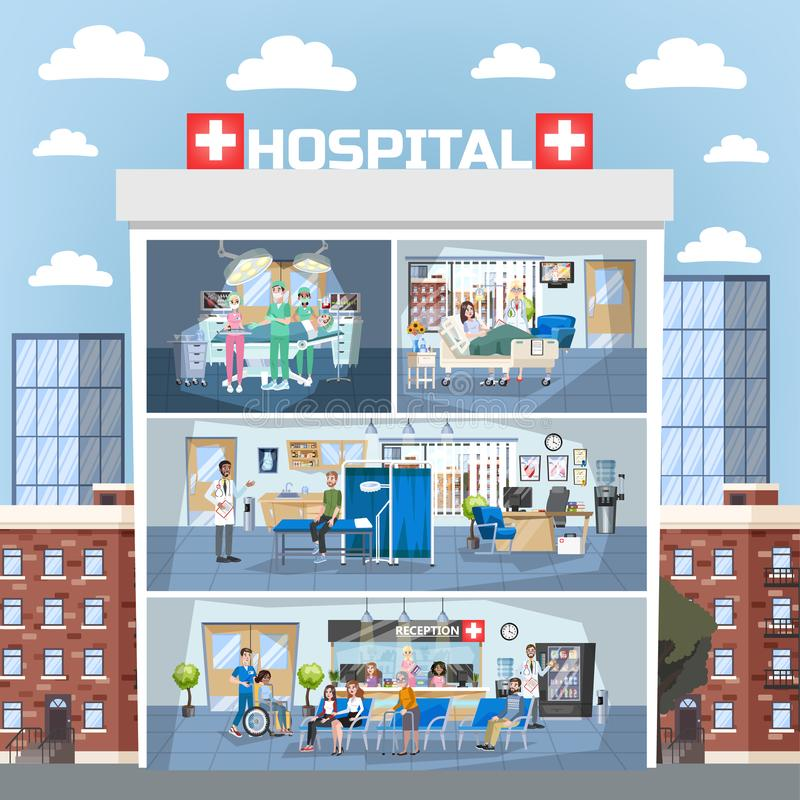 Hospital building interior. Doctor office and surgery room. Reception. Medical clinic indoor. Doctor and patient. Woman in wheelchair. Vector illustration in vector illustration