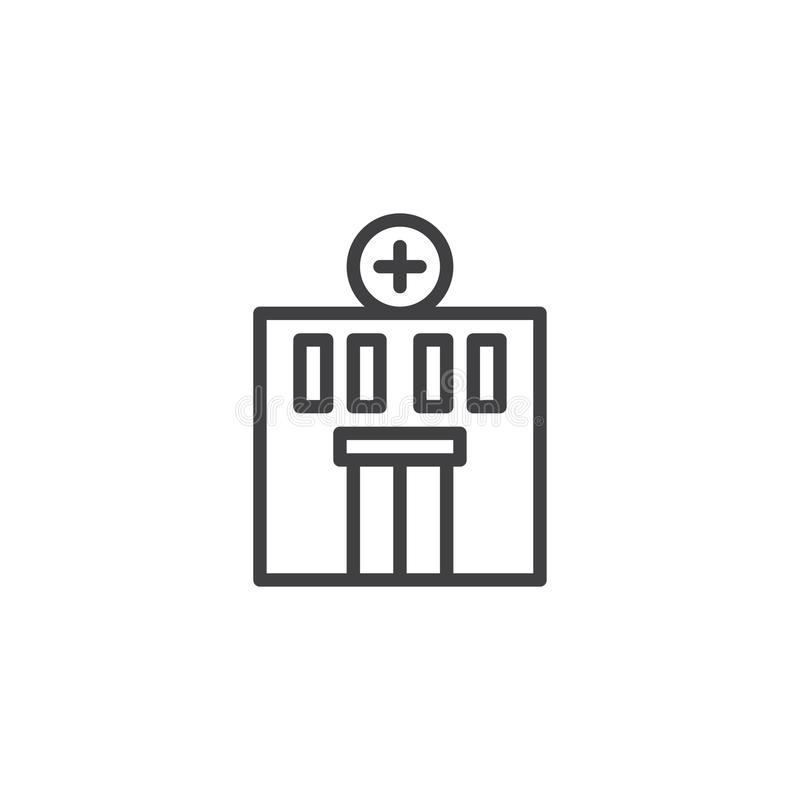 Hospital building line icon royalty free illustration
