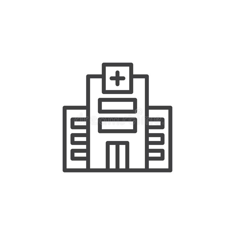 Hospital building line icon vector illustration