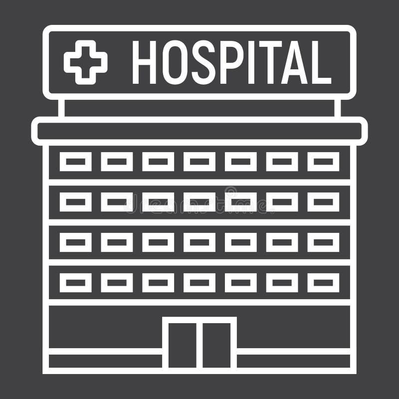 Hospital building line icon, medicine vector illustration