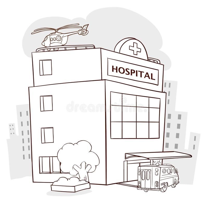 Hospital building, medical icon. Healthcare, hospital and medica vector illustration