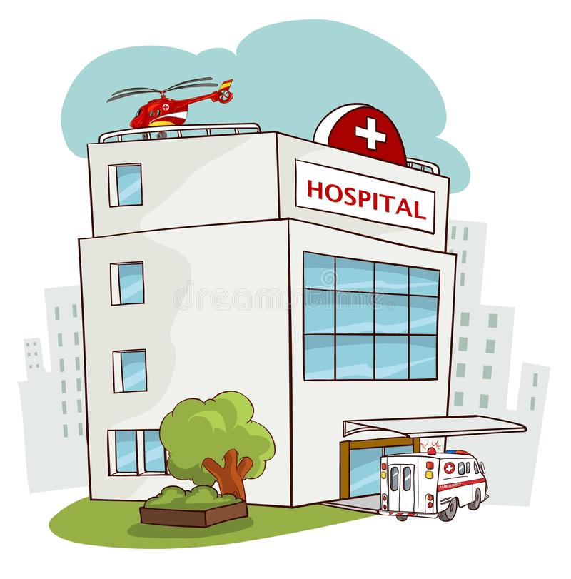 Hospital building, medical icon. Healthcare, hospital and medica. L diagnostics. Urgency and emergency services. Road, sky, sun, tree. Car and helicopter. Vector royalty free illustration