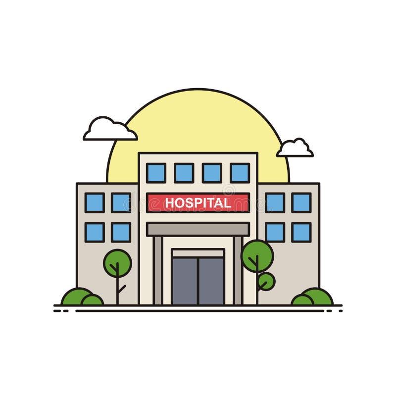 Hospital Building met flatline design, Illustraties van het zorgpictogram vector illustratie