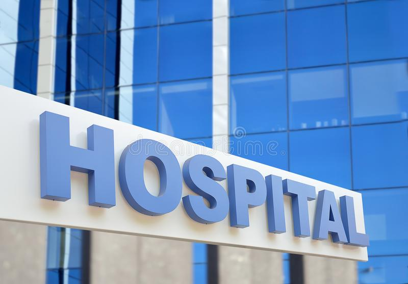 Hospital building outdoor. Hospital building sign closeup, with sky reflecting in the glass. 3d rendering royalty free stock images