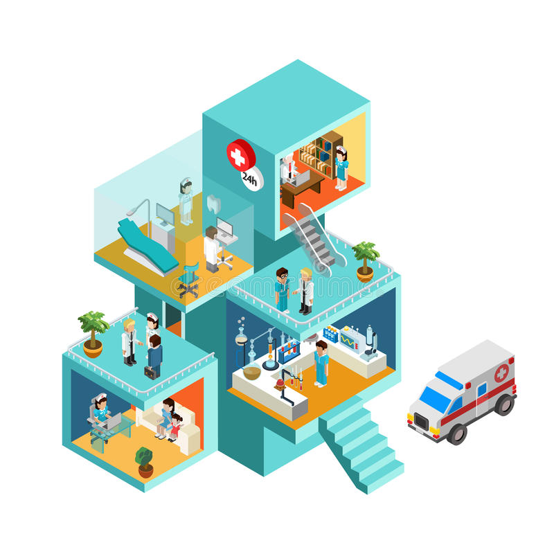 Hospital building with people flat 3d web isometric concept vector illustration