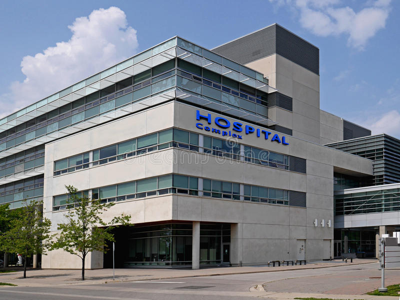 Hospital building. Typical modern large urban hospital building royalty free stock image
