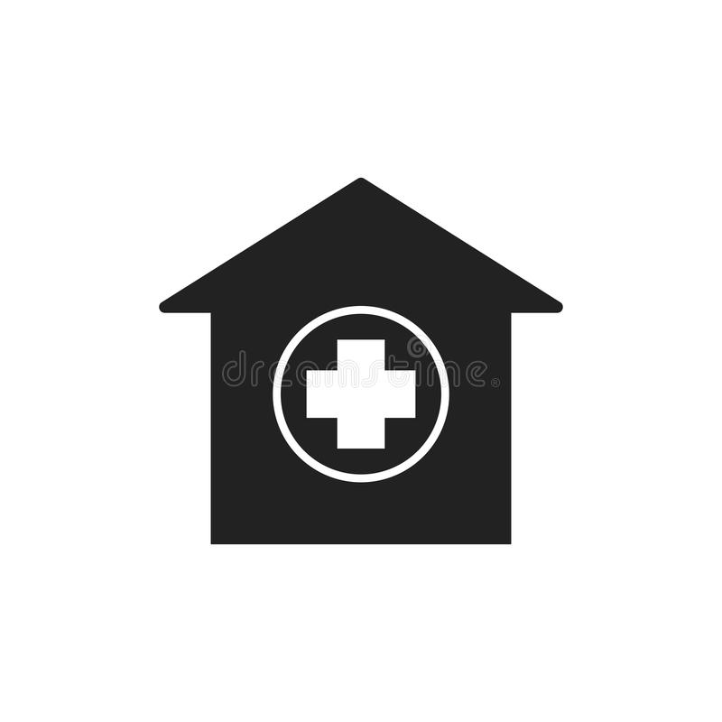 Hospital building vector icon. Infirmary medical clinic sign ill. Ustration royalty free illustration