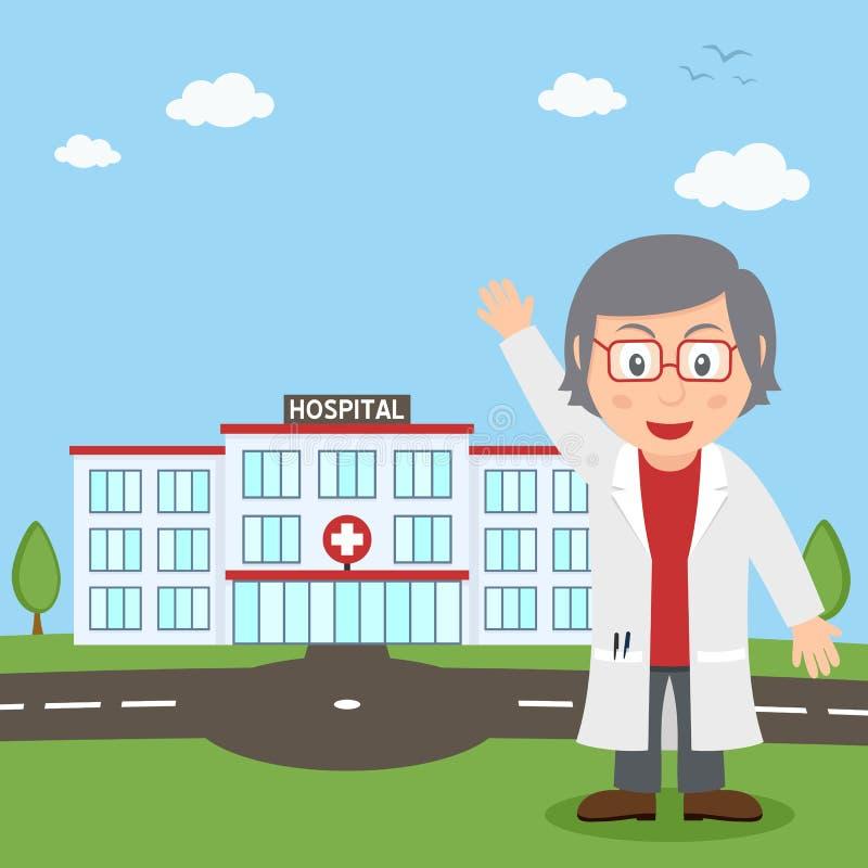 Hospital Building & White Female Doctor vector illustration