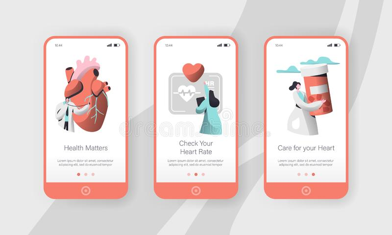 Hospital Cardiology Worker Care Heart Health Mobile App Page Onboard Screen Set Template. Emergency Help First Aid stock illustration