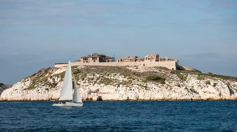 Hospital Caroline on Ratonneau island, Marseille stock photography