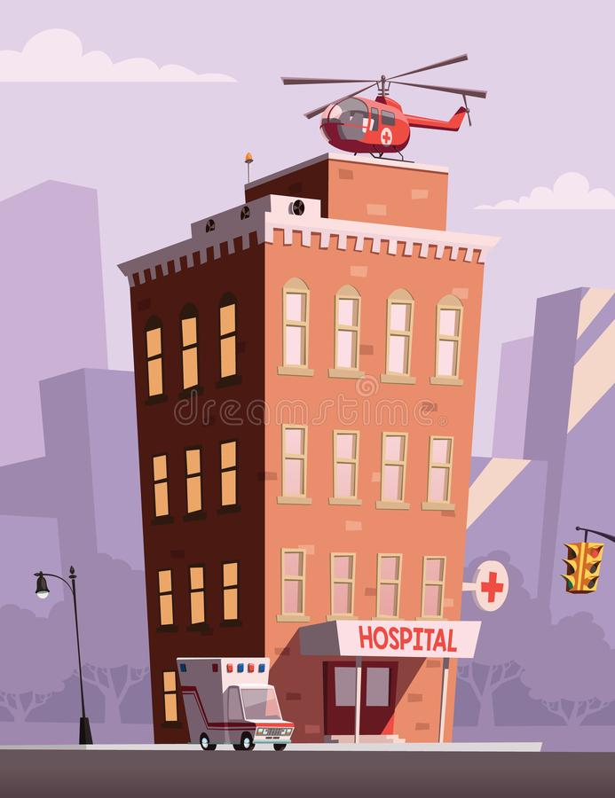 Hospital and cityscape in background royalty free illustration
