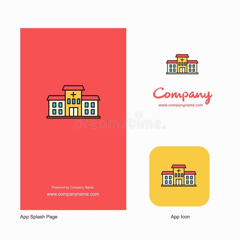 Hospital Company Logo App Icon und Spritzen-Seiten-Entwurf Kreative Geschäft App-Gestaltungselemente vektor abbildung
