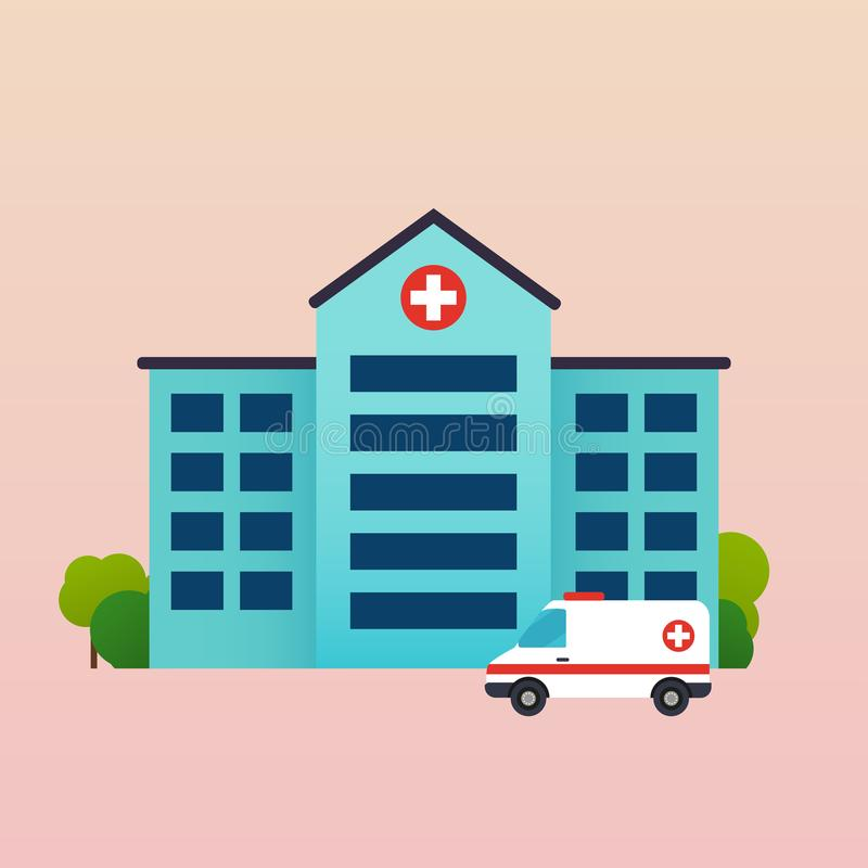 Hospital con el ejemplo plano del vector de la ambulancia libre illustration