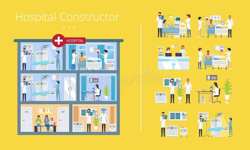 Hospital Constructor Scheme Vector Illustration. Hospital constructor scheme of medical services. Vector illustration contains doctors and nurses working with stock illustration