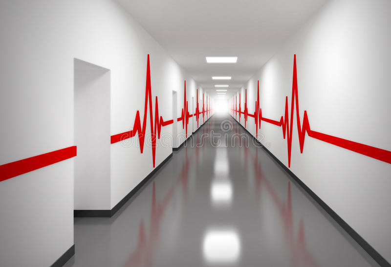 Hospital Corridor With Red Pulse Lines On Walls Royalty