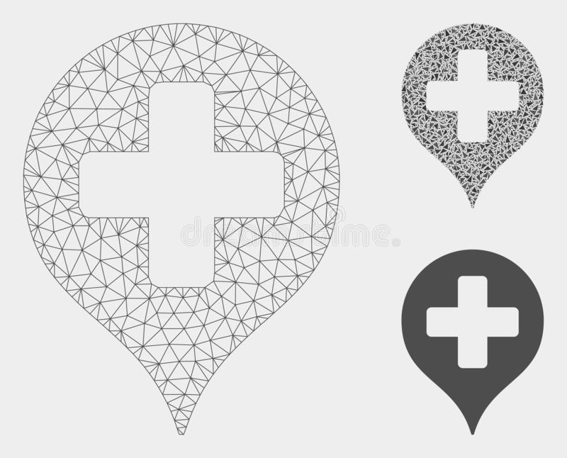 Hospital Cross Map Marker Vector Mesh Carcass Model and Triangle Mosaic Icon. Mesh hospital cross map marker model with triangle mosaic icon. Wire carcass vector illustration