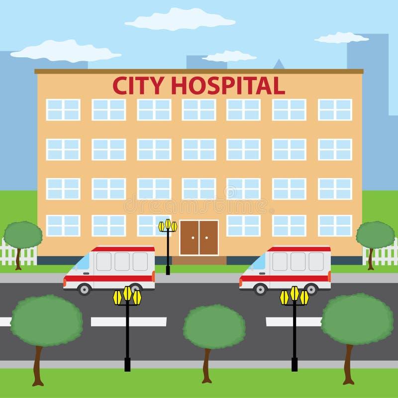 Hospital da cidade. ilustração do vetor