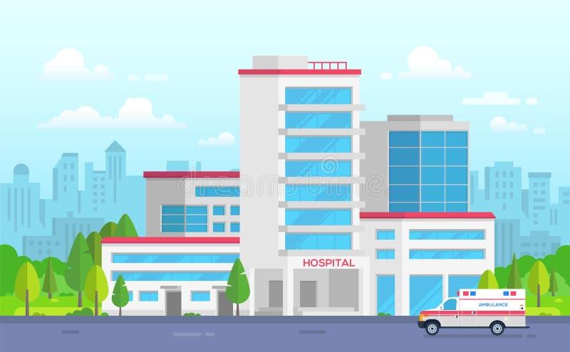 Hospital de la ciudad con la ambulancia - ejemplo moderno del vector ilustración del vector