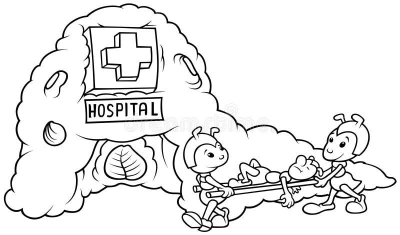 Hospital de la hormiga ilustración del vector