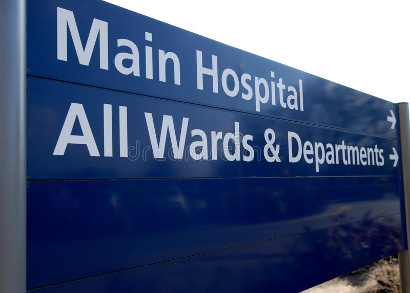 Hospital direction sign. royalty free stock images
