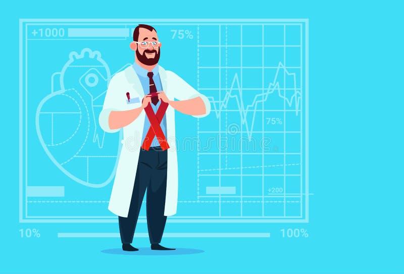Hospital do trabalhador das clínicas médicas da prevenção da doença do doutor Hold Cancer Ribbon ilustração do vetor