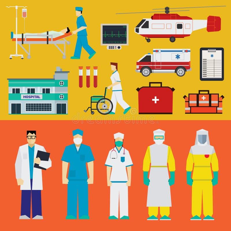 Hospital - doctores stock de ilustración