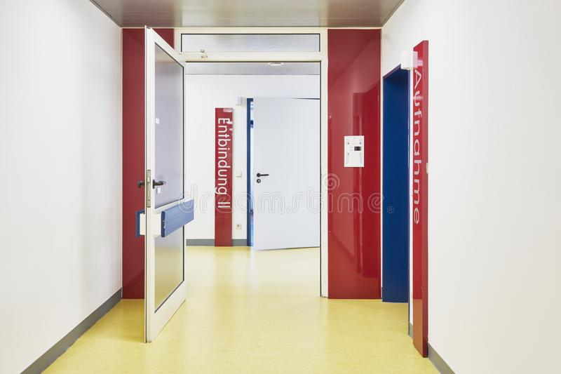 Hospital door confinement nobody corridor stock image