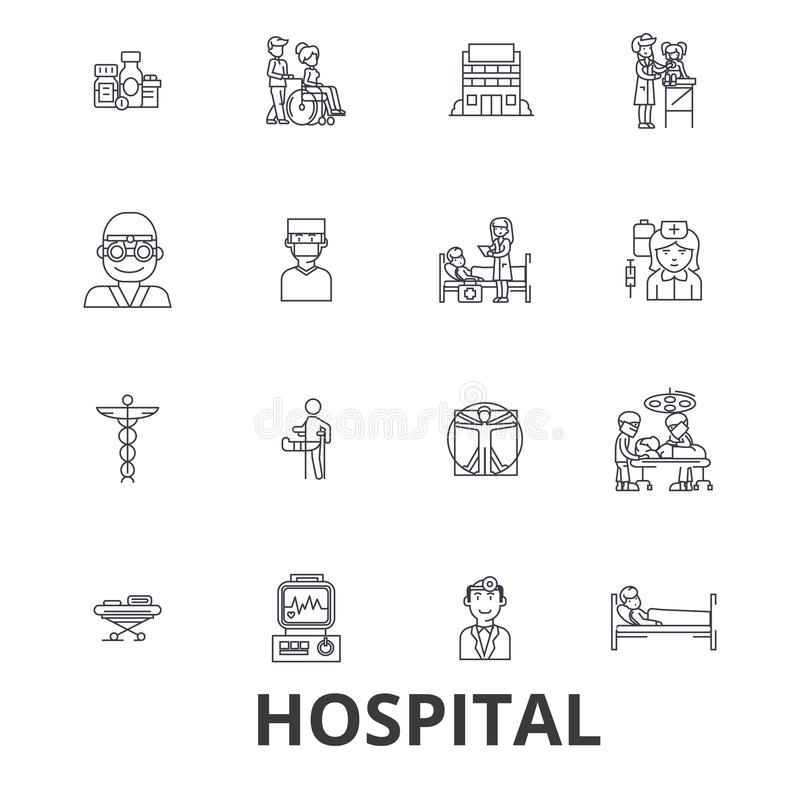 Hospital, doutor, médico, cuidados médicos, enfermeira, saúde, hospitalidade, linha paciente ícones Cursos editáveis Projeto liso ilustração royalty free