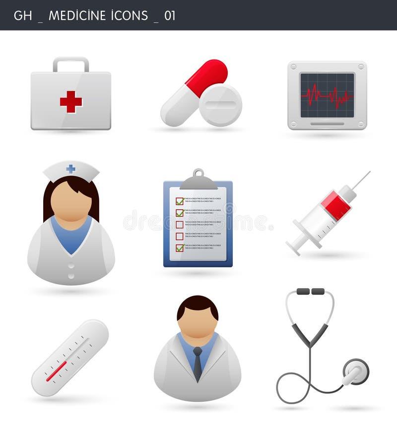 Hospital e iconos médicos _01 stock de ilustración