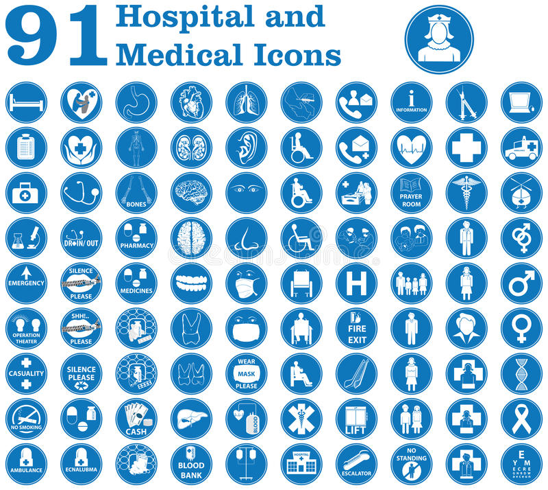 Hospital e iconos médicos foto de archivo libre de regalías