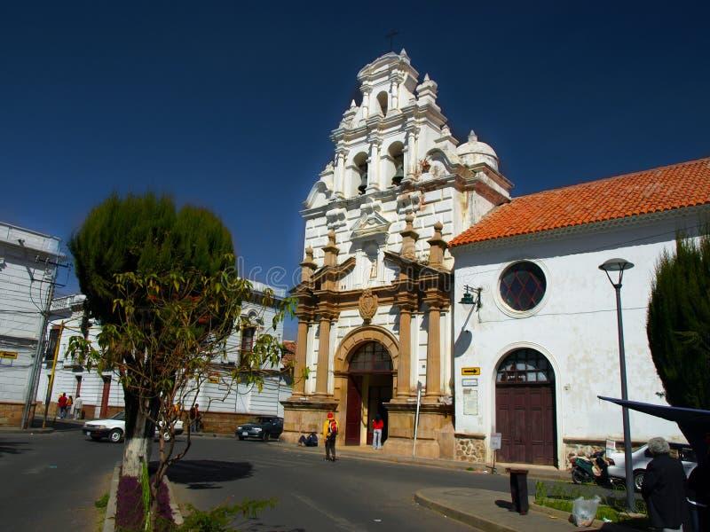 Hospital e iglesia del santo Barbara en Sucre imagen de archivo libre de regalías