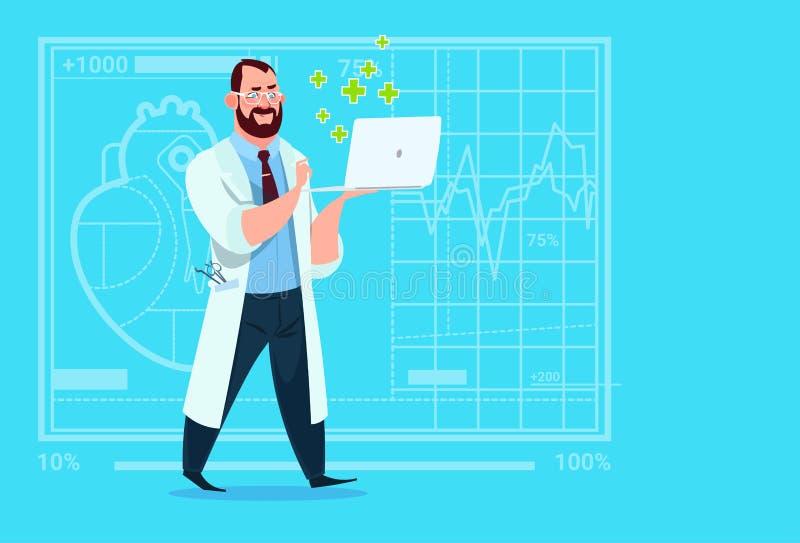 Hospital em linha do trabalhador das clínicas médicas da consulta do doutor Hold Laptop Computer ilustração royalty free