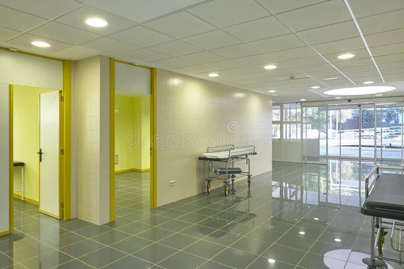 Hospital emergency entrance hallway. Health center indoor corridor stock image